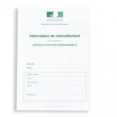 INTERCALAIRE REDOUBLEMENT 1ERE ET 2EME ANNEES CAP