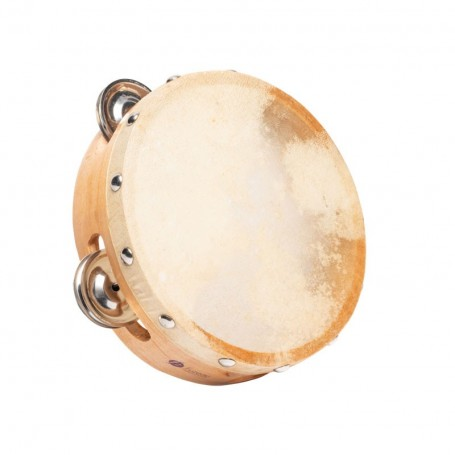 TAMBOURIN PEAU NATURELLE 15 CM + 8 CYMBALETTES