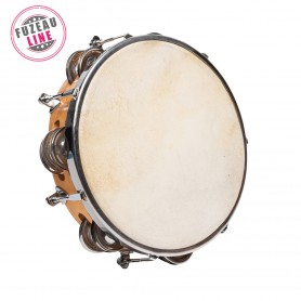 TAMBOURIN PEAU NATURELLE 20 CM + 12 CYMBALETTES